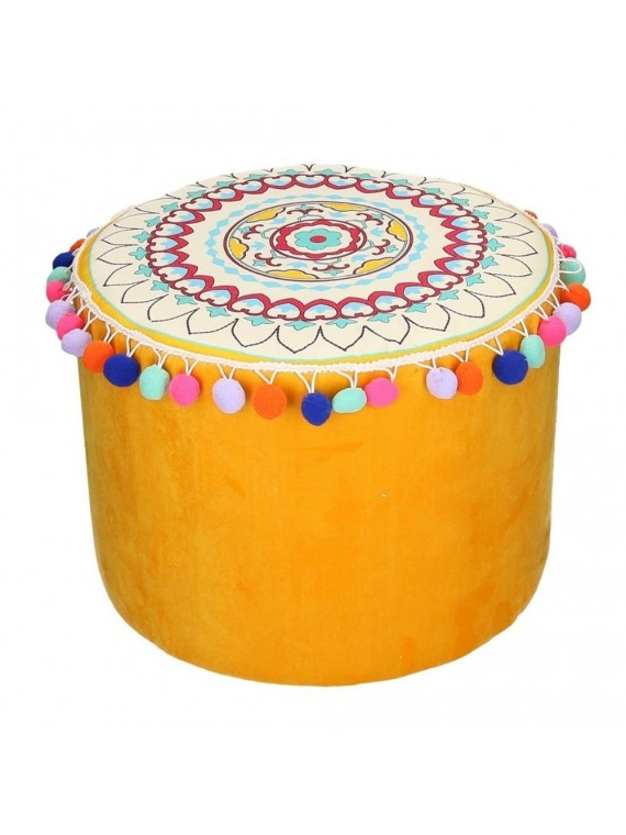 Puff velluto giallo arancione con pompon tondo cm40h30