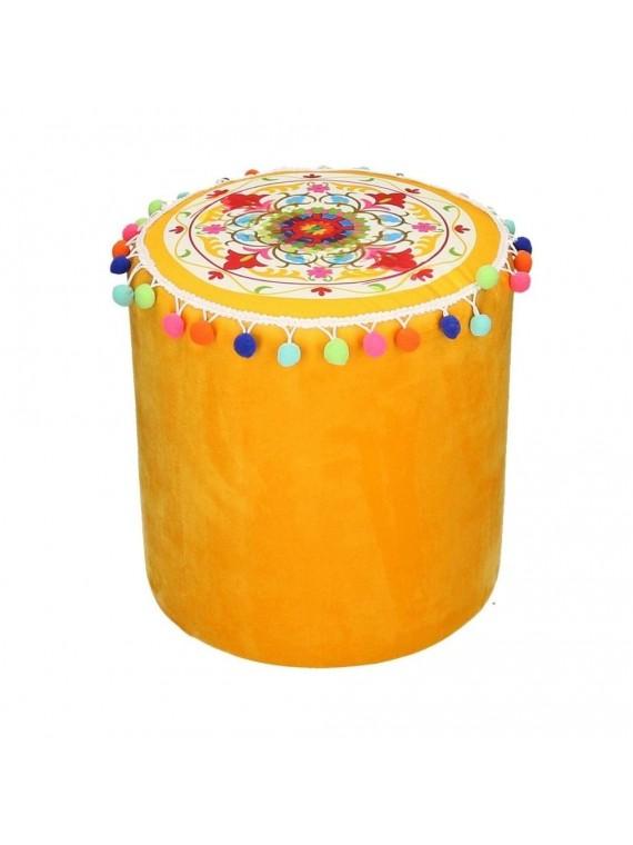 Puff velluto giallo arancione con pompon tondo cm32h32