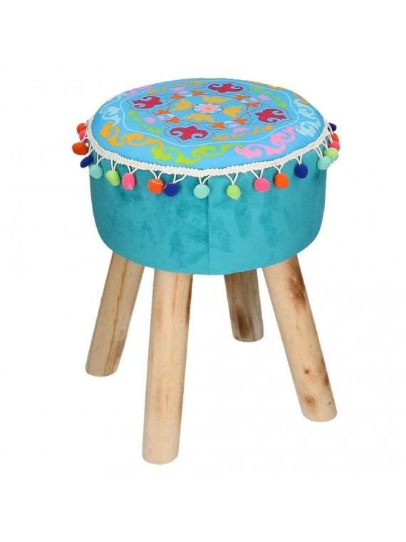 Puff velluto blu con gambe legno e pompon tondo cm32h42
