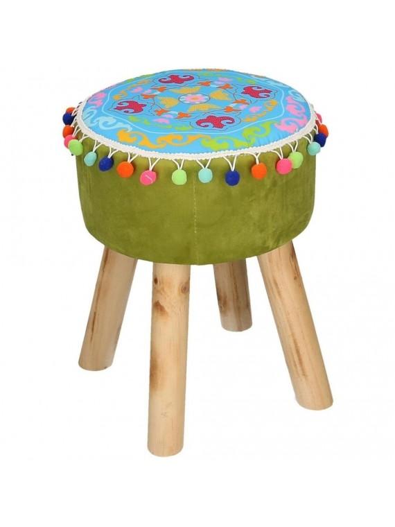 Puff velluto verde con gambe legno e pompon tondo cm32h42