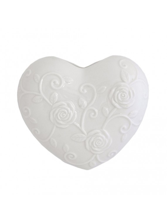 Cuore Bianco In Porcellana Cm 15X17 In Gift Box