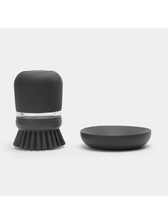 Brabantia Spazzola per piatti con dispenser sapone - Dark Grey