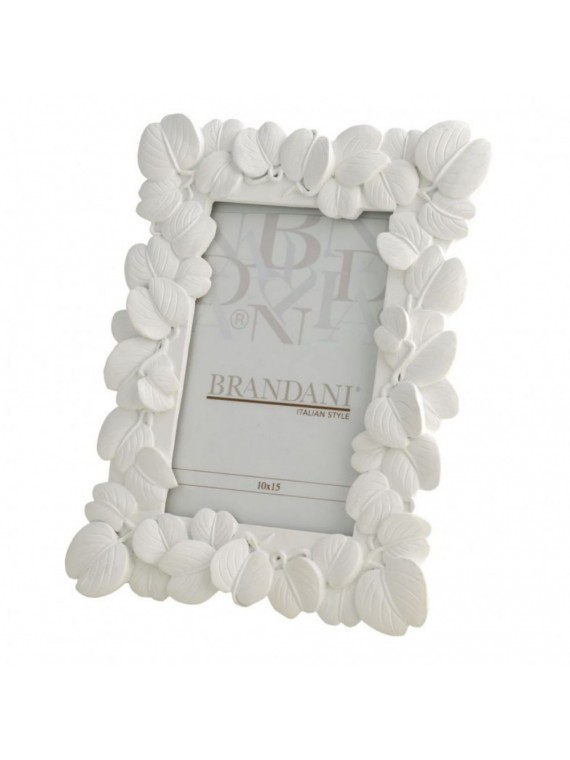 Brandani portafoto foglia bianco poliresina 10 15