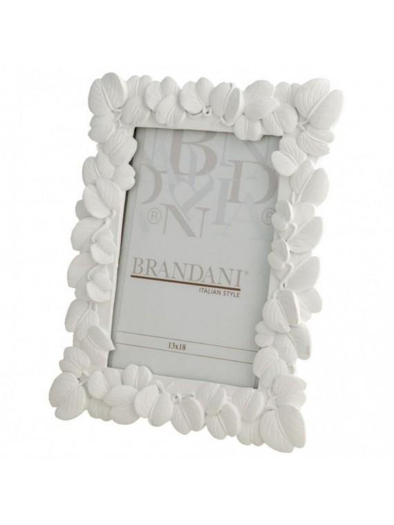 Brandani portafoto foglia bianco poliresina 13 18