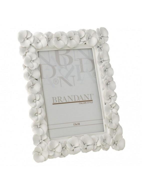 Brandani portafoto primula bianco poliresina 13 18