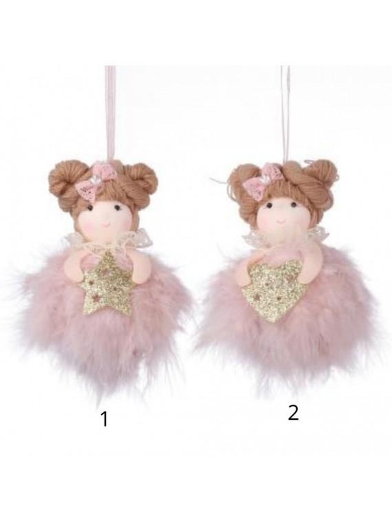 Bambolina tessuto con piume rosa 2 assortiti cm 9 x 11/18