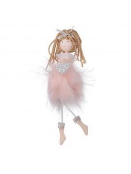 Bambolina tessuto ballerina rosa con cuore argento rosa cm 8 h20