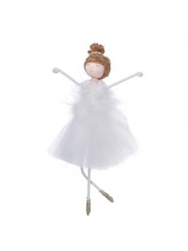 Bambolina tessuto ballerina bianco cm 12 h19