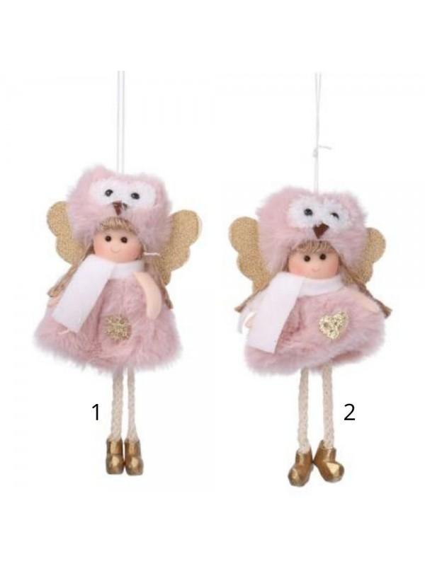 Bambolina tessuto cappello con gufo rosa cm 9 h16/23