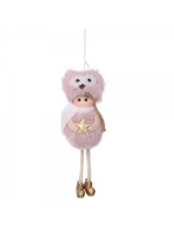 Bambolina tessuto cappello con gufo rosa cm 6 h17/23