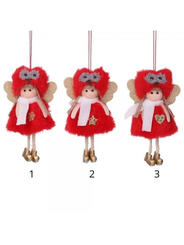 Bambolina tessuto cappello gufo rosso cm 9 h15/22