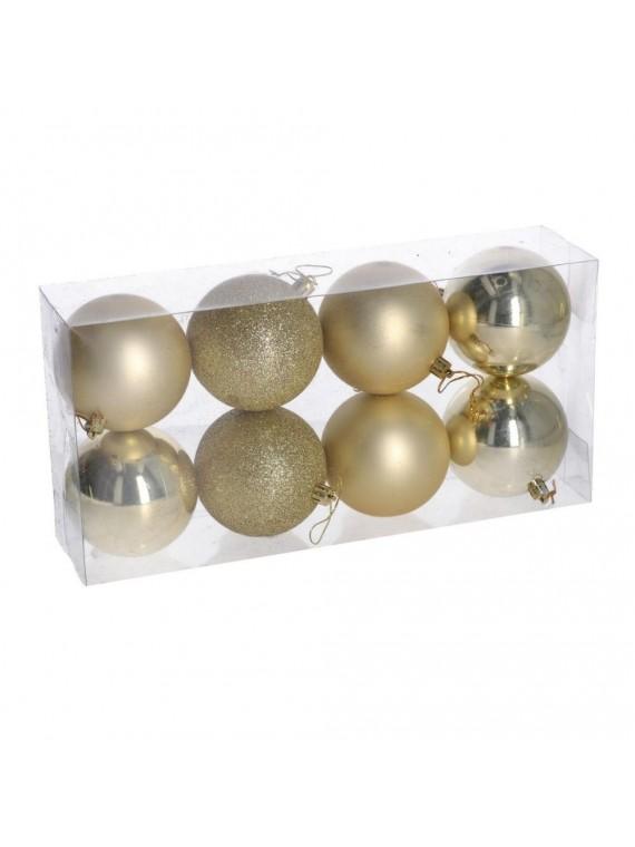 Sfera plastica confezione 8 pezzi oro cm d8