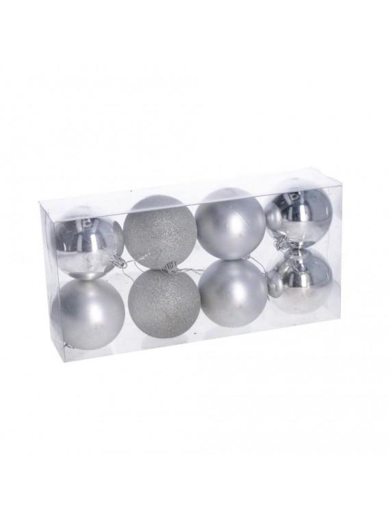 Sfera plastica confezione 8 pezzi argento cm d8