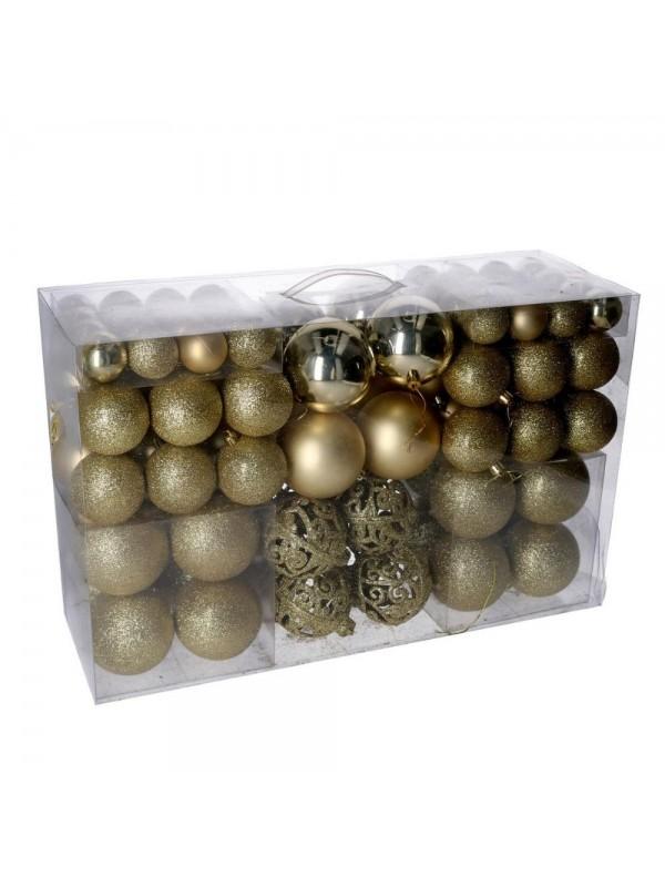 Sfera plastica confezione 100 pezzi oro cm 4 6 8