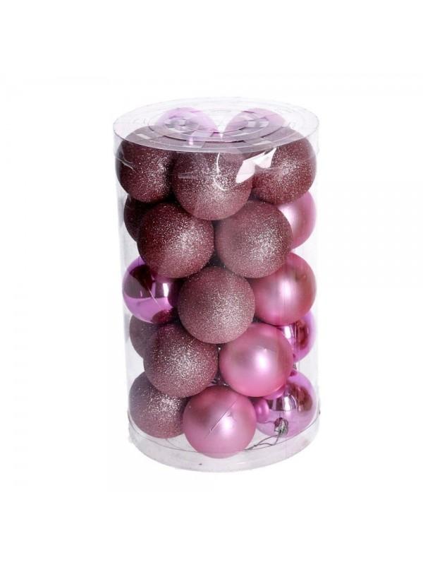 Sfera plastica confezione tubo 25 pezzi rosa cm d6