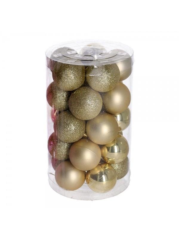 Sfera plastica confezione tubo 25 pezzi oro cm d6