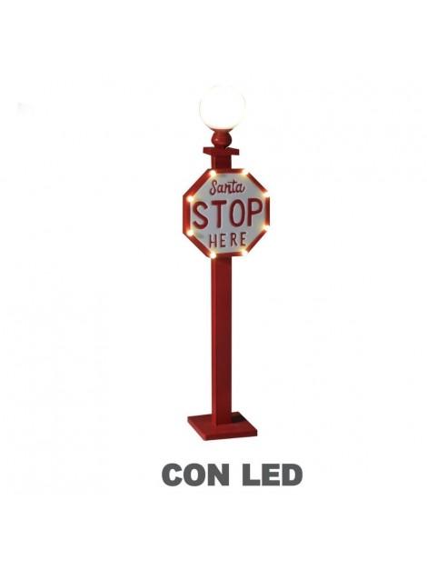 Lampione metallo led con cartello polo nord rosso cm28x18h109
