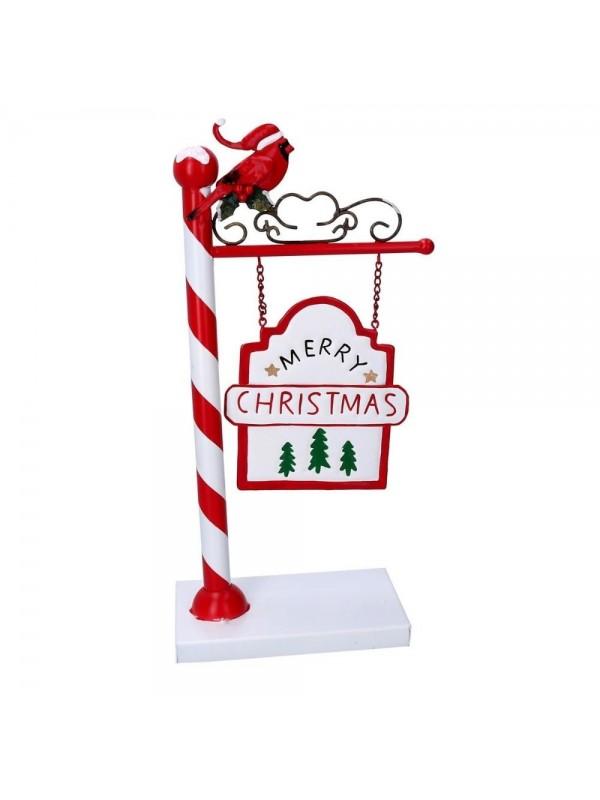 Cartello metallo scritta christmas con uccellino rosso cm 18 5 x 10 h36 5