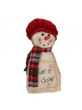 Fermaporta tessuto pupazzo di neve scritta bianco cm 15 h28