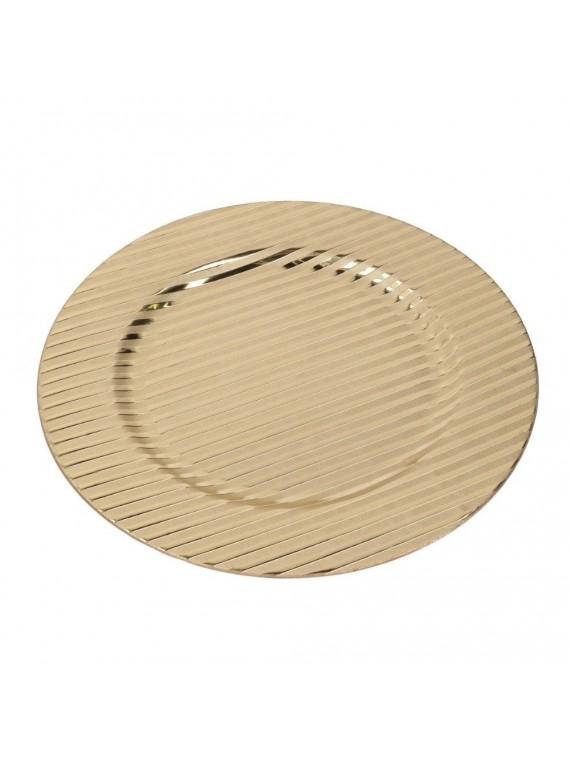 Piatto plastica oro righe tondo cm d33 h2