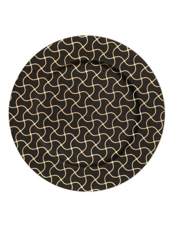 Piatto plastica nero oro tondo cm d 33 h1