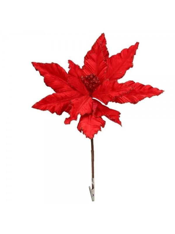 Fiore stella natale rosso con clip e glitter cm d30 x 18