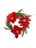 Coroncina fiori bacche rosso oro tondo cm d36 x 8