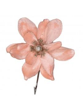 Fiore fibra sintetica glitter con clip rosa cm h22