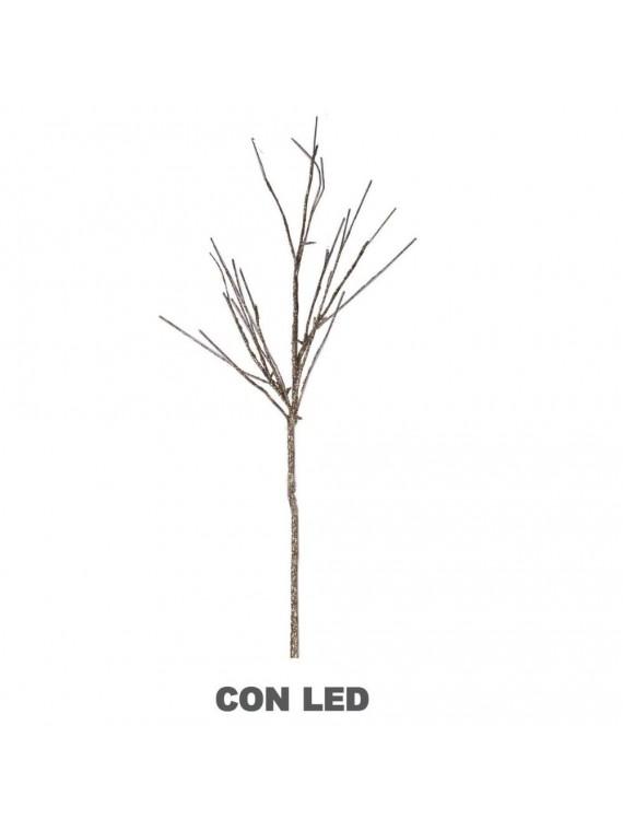 Luce ramo glitter oro argento 16 led bianco caldo cm 40 x 40 h100 aliment. batteria