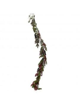 Festone con aghi di pino e bacche rosso innevato cm 31 x 150