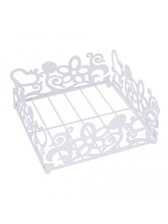 Portatovaglioli metallo bianco quadro cm 20 x 20 h9