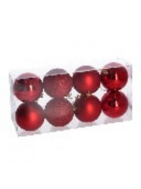 Sfera plastica confezione 8 pezzi rosso cm diam. 8
