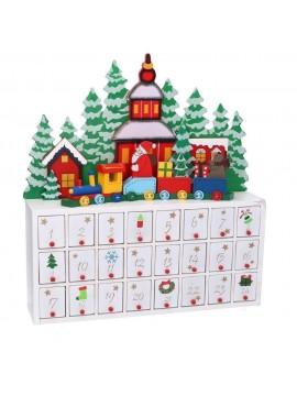 Calendario avvento con cassetti legno babbo natale bianco cm 40 x 10 h37