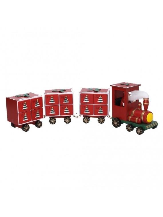 Calendario avvento con cassetti legno trenino rosso cm 52 x 14 h10