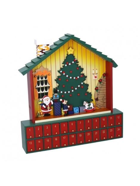 Calendario avvento con cassetti legno casetta natale rosso cm 39 x 41 4 h6 7