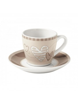 Brandani tazzina caffe batticuore set 2 pezzi porcellana