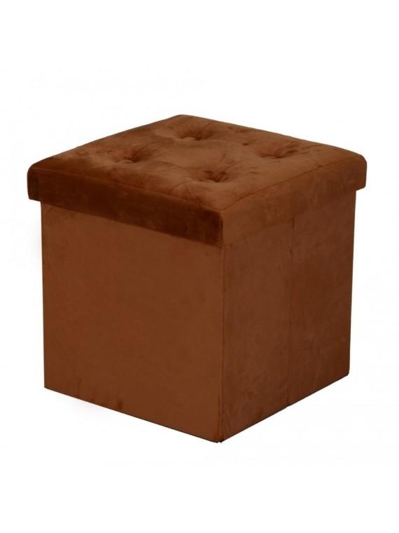 Puff velluto marrone cm38x38h38