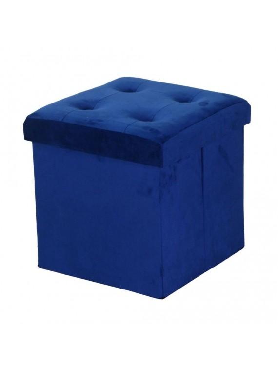 Puff velluto blu cm38x38h38