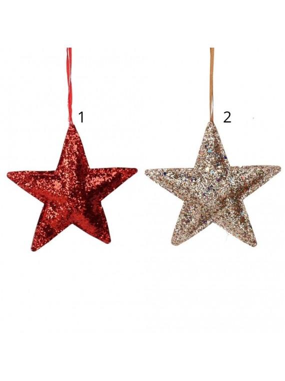 Stella tessuto glitter rosso e oro cm14 5x14x2