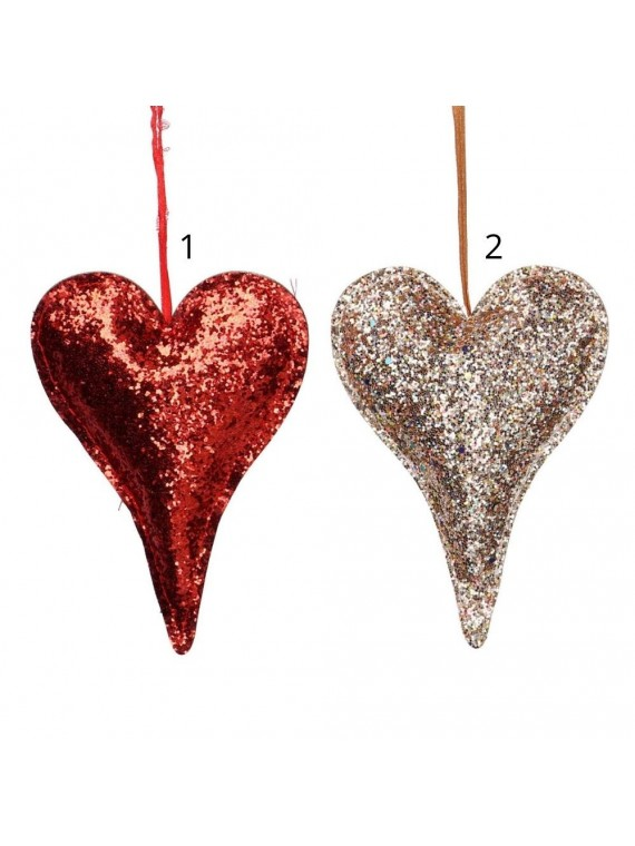 Cuore tessuto glitter rosso e oro cm9x12x1 5
