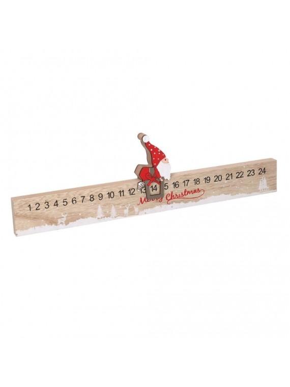 Calendario legno con babbo natale rosso cm40x5h11 5