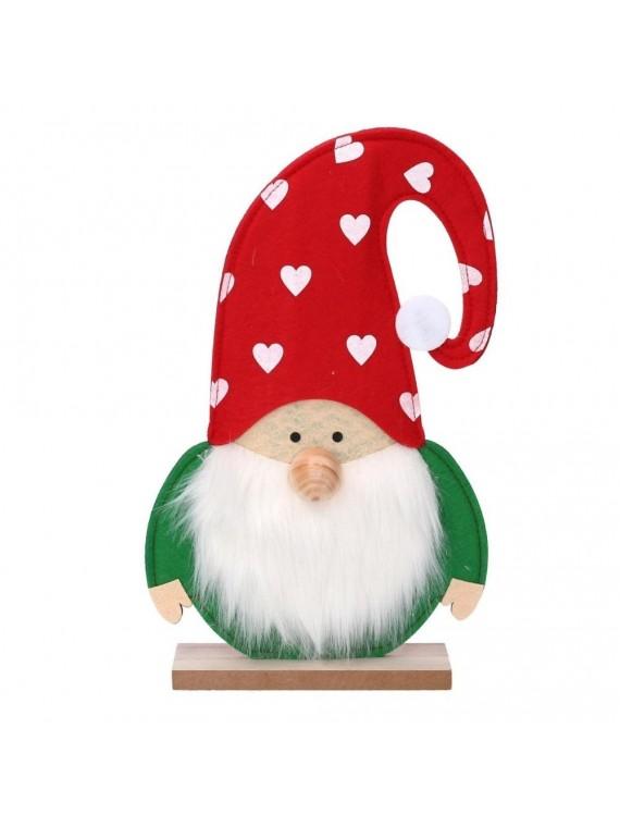 Babbo natale legno verde con cappello rosso cm28 5x5h46