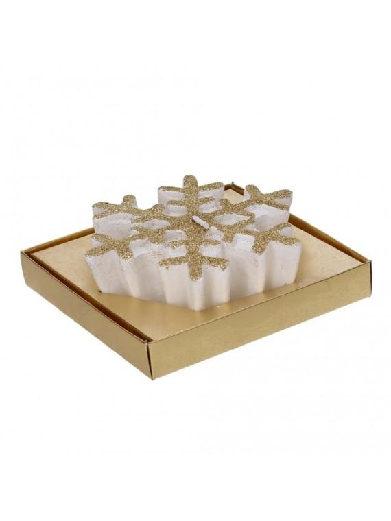 Candela fiocco di neve bianco glitter oro cm13 1x13 1h5