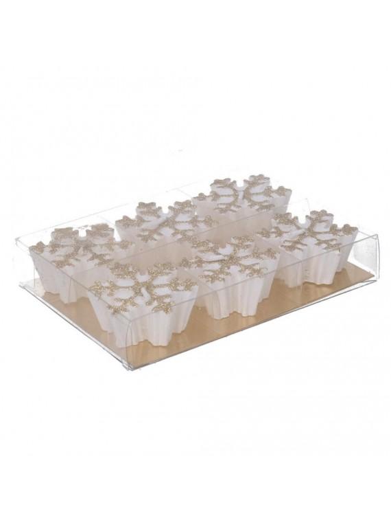 Candela confezione 6 fiocco di neve bianco glitter cm15 2x11 2h2 7