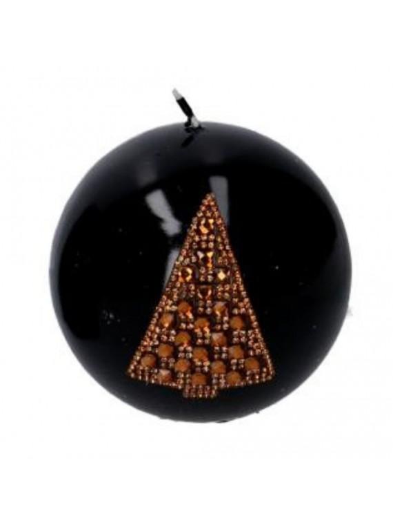 Candela nero albero oro tondo cm diam 9 8 h9 3