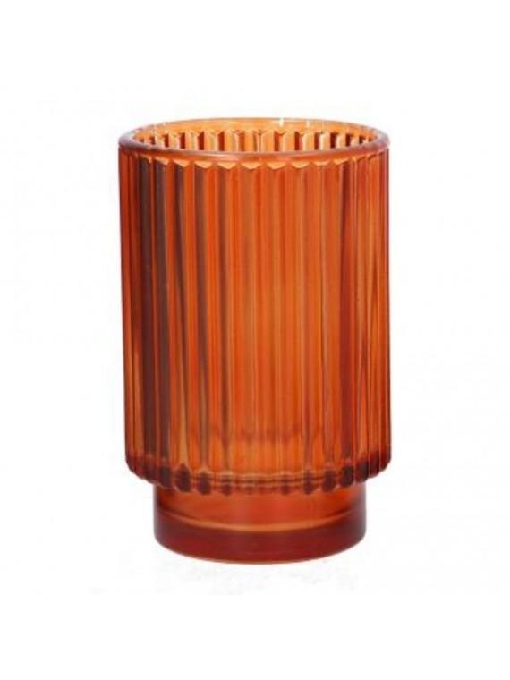 Portacandele vetro arancione cm diam 8 5 h13