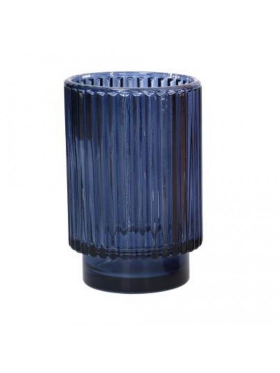 Portacandele vetro blu cm diam 8 5 h13