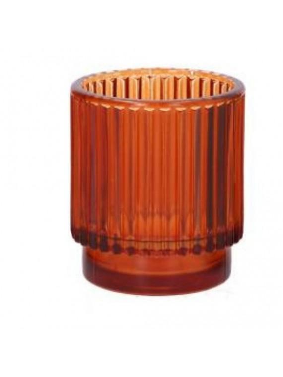 Portacandele vetro arancione cm diam7 h8