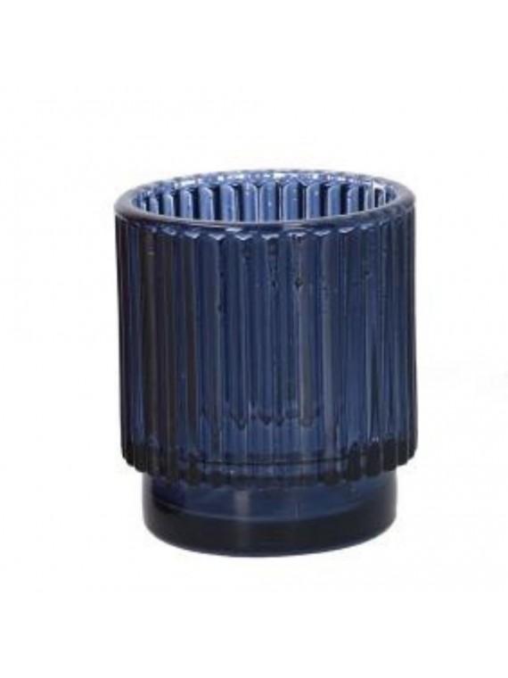Portacandele vetro blu cm diam 7 h8