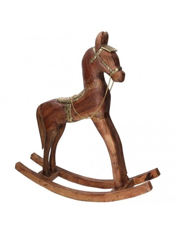 Cavallo legno rivestito metallo oro cm40x11h46